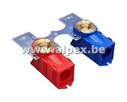 2 Boîte à Encastrer rouge et bleu 1/2 x 16 avec support