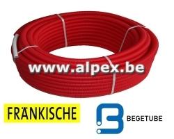 Tuyau Alpex gainé FRANKISCHE   BEGETUBE 50m 16x2.0  rouge