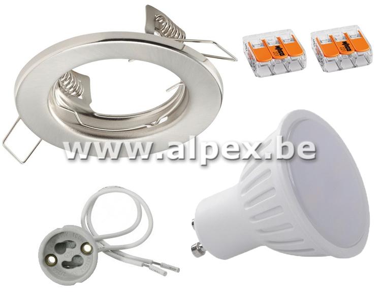 Kit Spot LED 4w Fix  Inox Brossé