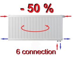 Radiateur  6 connexions T22   300 x 800    786 W